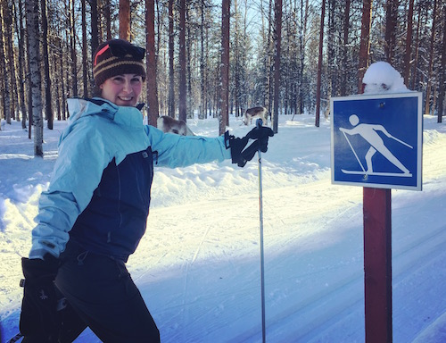 Ginger skiing in Finland